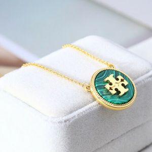 Tory Burch Green Malachite Logo Pendant Necklace